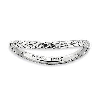 1,5 mm plata con dibujos expresiones apilable rodio rodio pulido-placa onda anillo - tamaño del anillo: 5 a