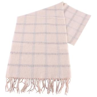 Bassin and Brown Berberis Checked Cashmere Scarf - Cream/Grey