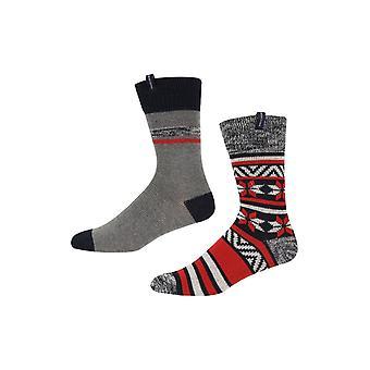 Ben Sherman Men's 2 Pack Thick Boot Socks Grey Navy Red Fairisle Stripe Luska