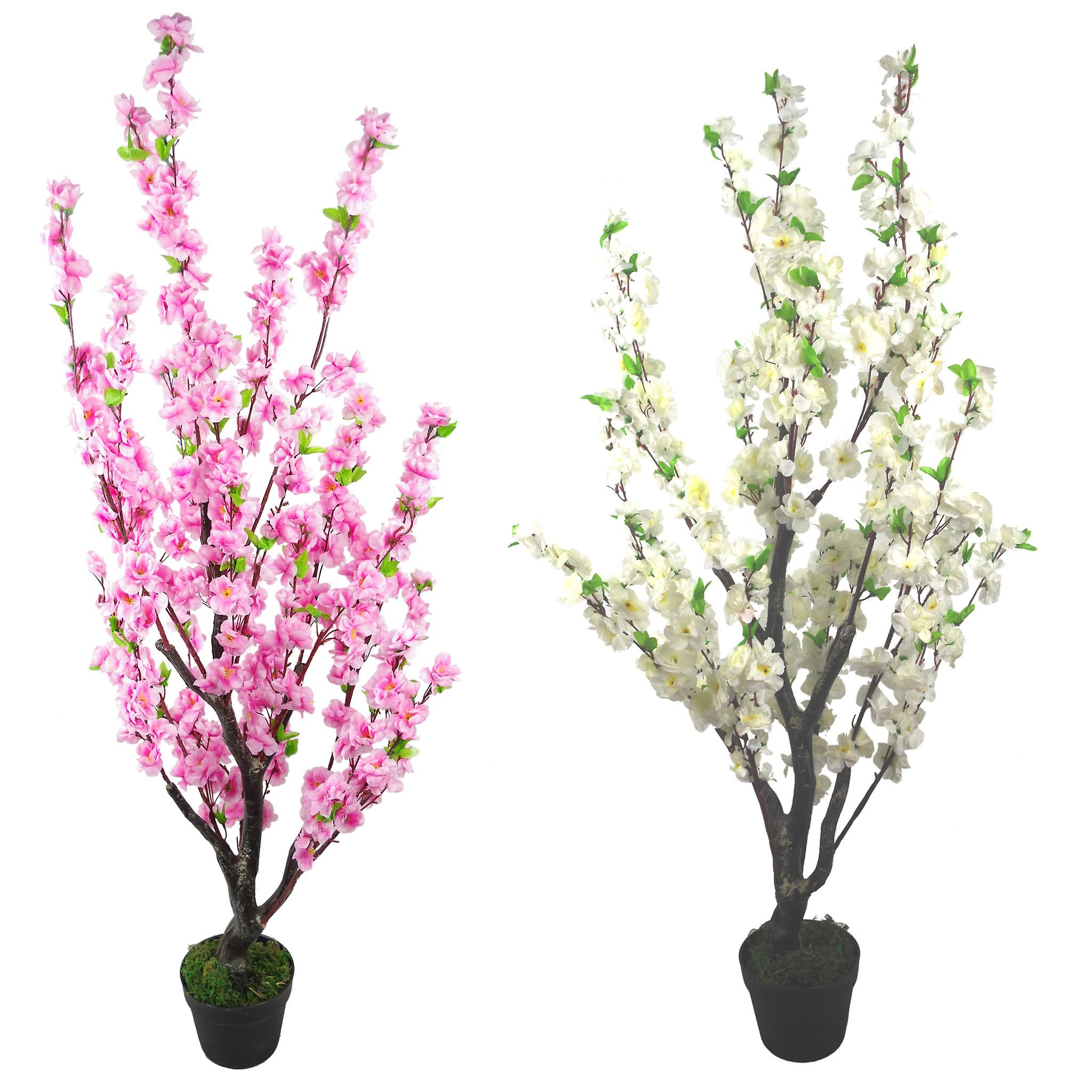 120cm Realistic Artificial Cherry Blossom Tree - Potted - White Silk Flowers