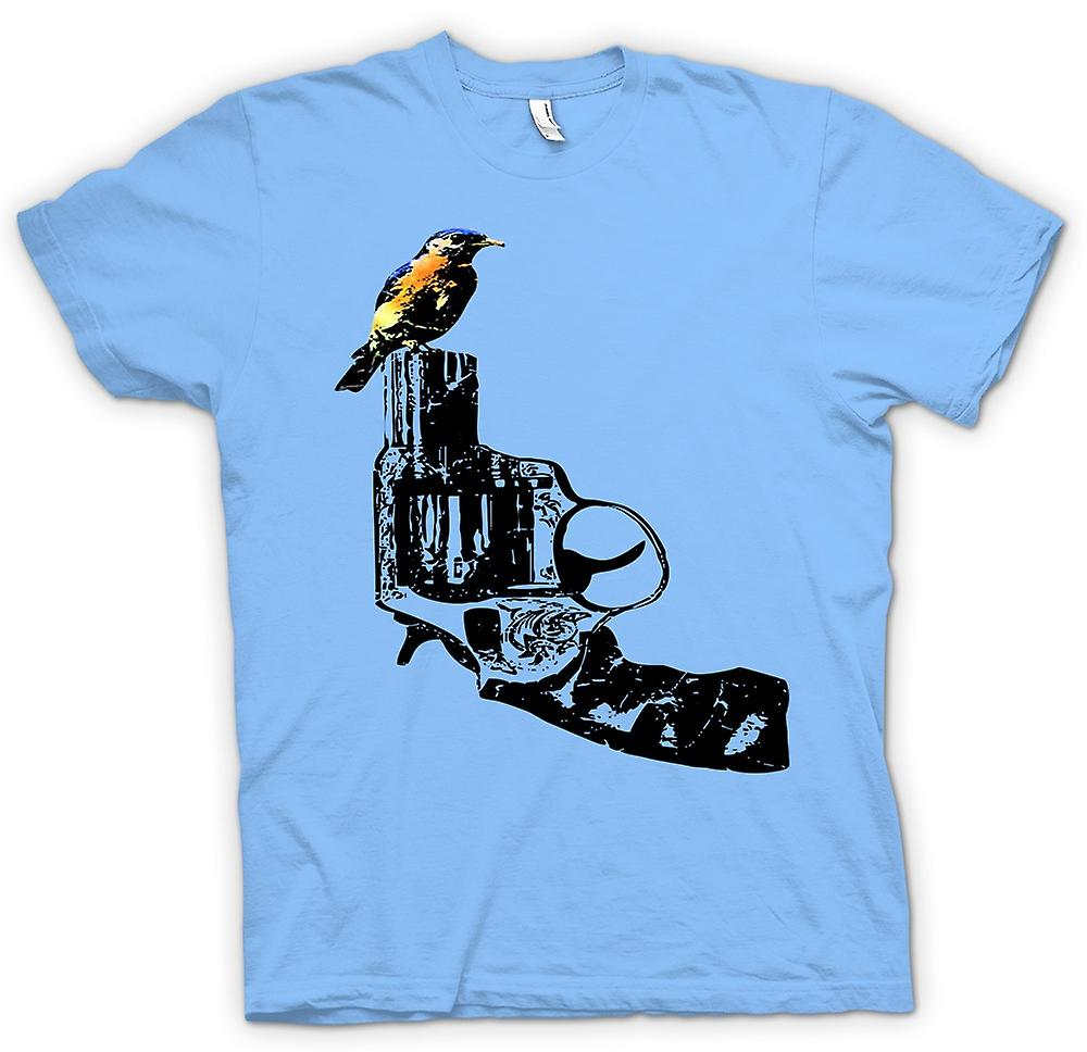 Mens T-shirt - Kingfisher On Pistol - Cool Gun Design