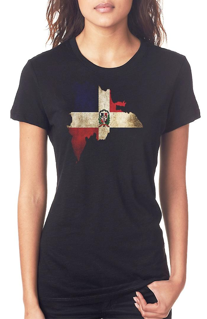 Dominican Republic Flag Map Ladies T Shirt