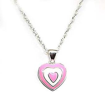 Toc Sterling Silver Pink Enamel Heart Pendant on 16 Inch Chain