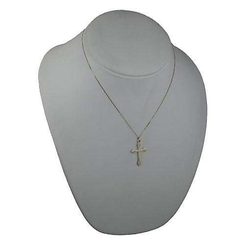 9ct Gold 31x20mm Fancy Cross with a curb Chain 18 inches