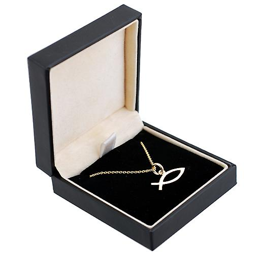 9ct Gold 7x20mm Christian Fish symbol with Cable link chain