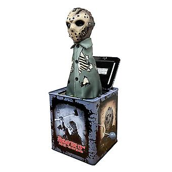 Friday the 13th burst a box Jason Vorhees Jack-in-the-box mechanical music box with sound, from sheet metal with spring Devil figure made of plastic.