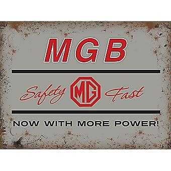 MGB, Safety Fast, Small Metal Sign 200mm x 150mm (og)