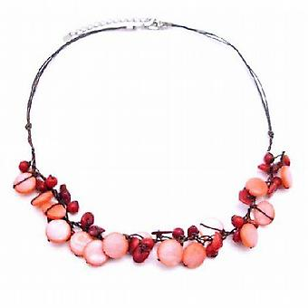 Semi Precious w/ Jewelry Coral Nugget & Mop Shell Handmade Necklace