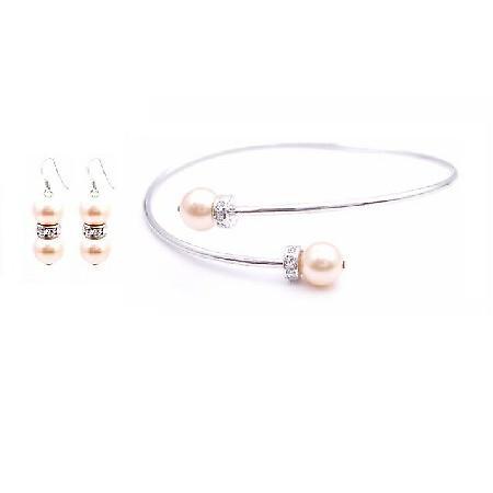 Swarovski Peach Pearl Silver Rondells Bangle Cuff Bracelet Earrings