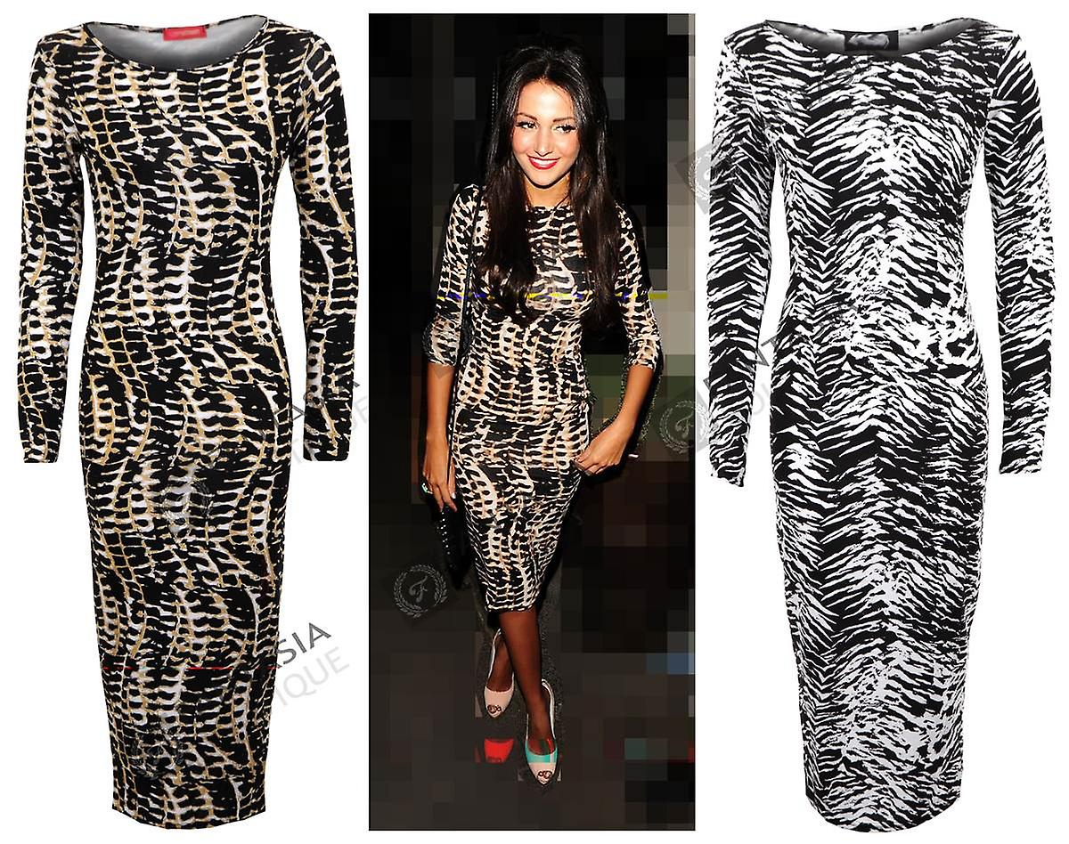New Ladies Celeb Tribal Zebra Print Full Length Bodycon Women's Dress