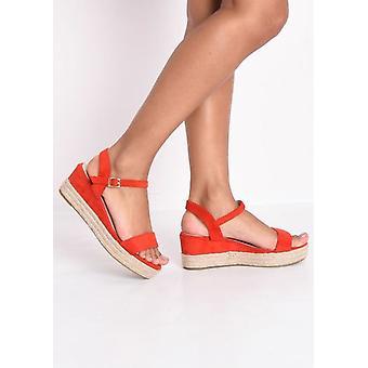 Faux Wildleder Plattform geflochten Kork Keil Schuhe Sandalen rot