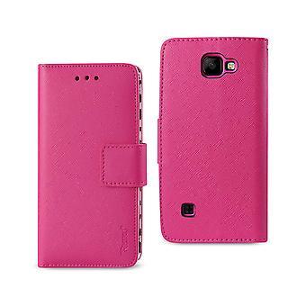 Reiko LG K3 plånbok fallet med inre Zebra Print i Hot Pink