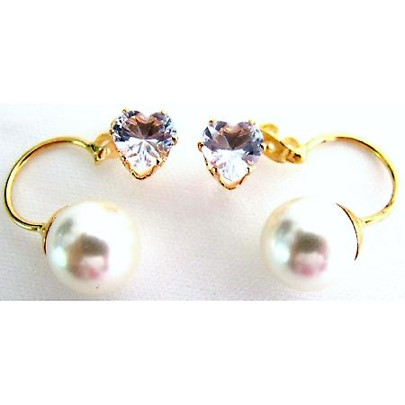 CZ Heart Ivory Pearl Ear Jacket Earrlngs Valentine Holiday Gift