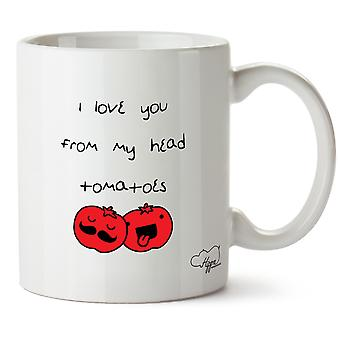 Hippowarehouse ik hou van je uit mijn hoofd tomaten afgedrukt mok Cup keramiek 10oz