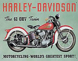 Harley Davidson 61OHV Twin Steel Sign (fd)