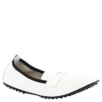 Leonardo Shoes Woman's handmade ballerinas mocassini in white leather