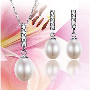 925 Sterling Silver Fine Grain Pearl Necklace & Earring Set