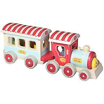 Treno a vapore indaco Jamm Sammy - completo con 3 passeggeri in legno rimovibili & un macchinista