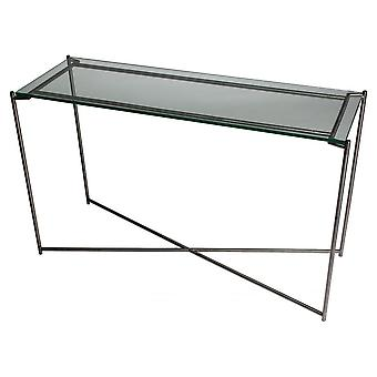 Gillmore Space Clear Glass Large Console Table With Gun Metal Cross Base