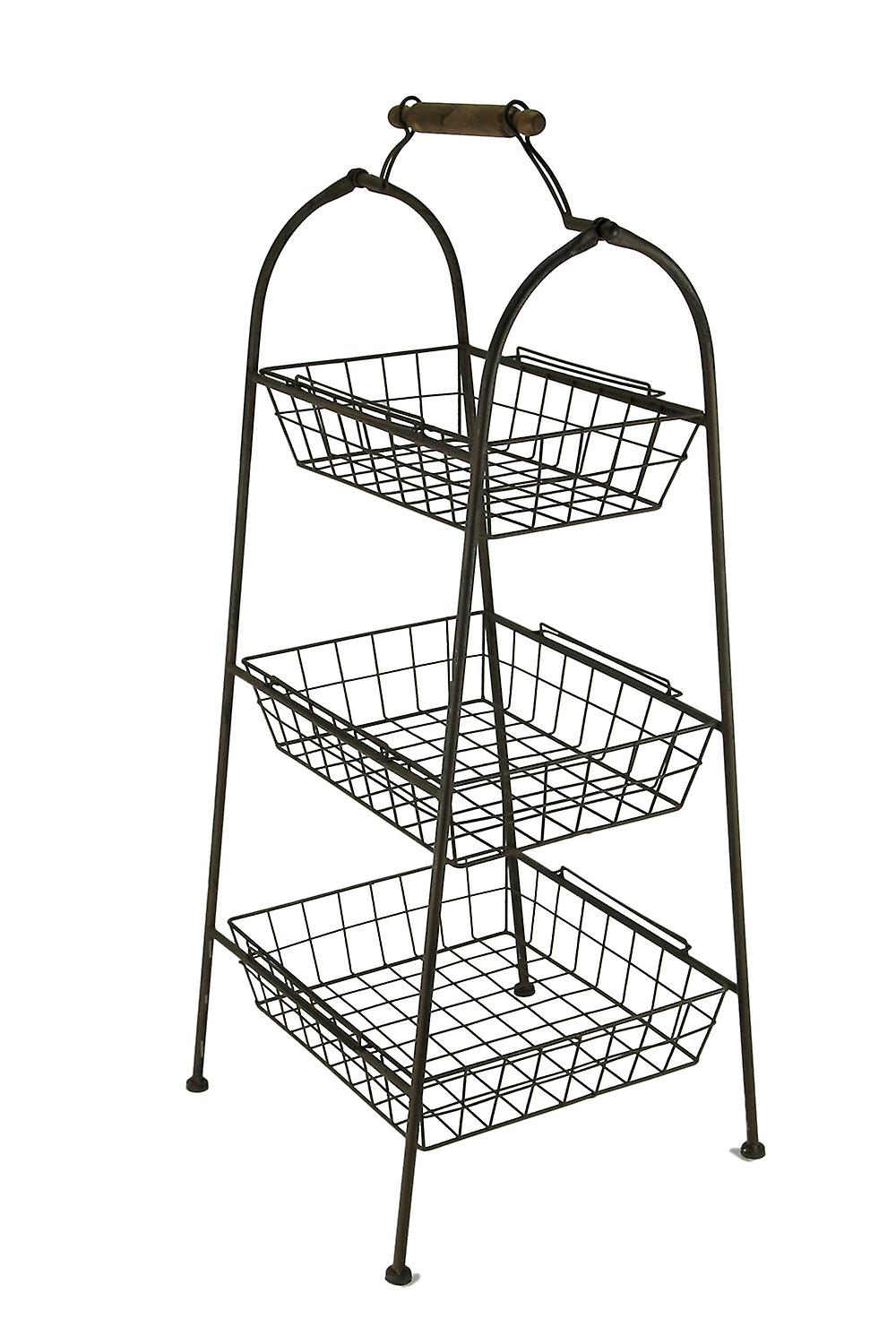 Rust marron Metal Wire 3-cravater Basket Stand
