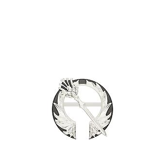 Outlander Distel Open Circle Pin In Sterling Silber