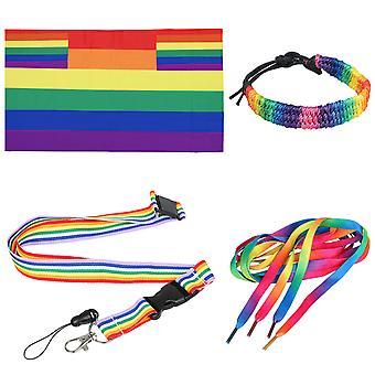 TRIXES 4PC Rainbow Gay Pride Day Accesorios Set Adulto Tamaño-Multicolor-Festivals Carnaval LGBTQ Eventos