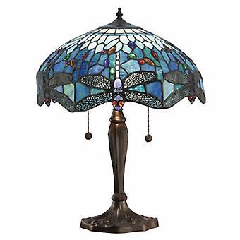 2 Light Medium Table Lamp Dark Bronze, Blue, Tiffany Style Glass
