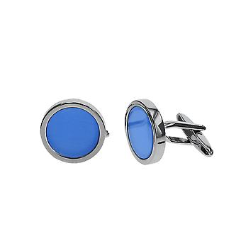 Stratton Rhodium centrum Blue Cat Eye cufflink set