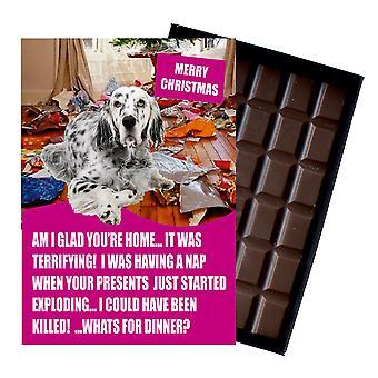 Seter angielski śmieszne Boże Narodzenie prezent dla psa Lover Pudełkowany czekolada powitanie karta Xmas Present