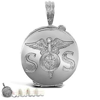 Jewelco London solid sterling sølv S. O. S medicinsk Awareness Locket vedhæng