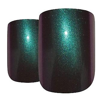 False nails by bling art green purple chameleon french squoval 24 fake tips