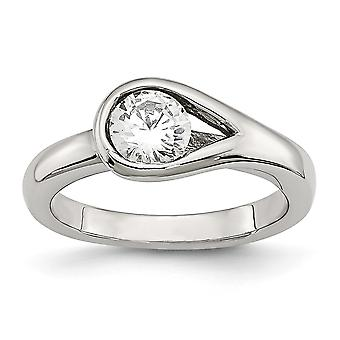 Stainless Steel Polished Cubic Zirconia Ring - Ring Size: 6 to 9