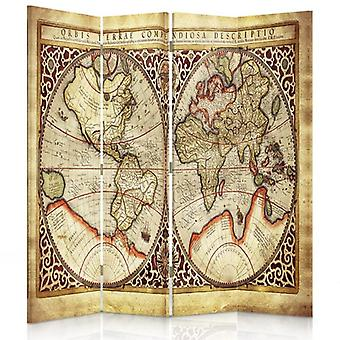 Room Divider, 4 Panels, Double-Sided, 360 ° Rotatable, Canvas, Old World Map