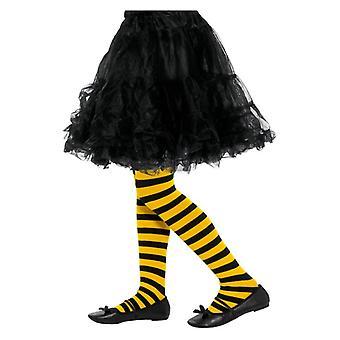 Mädchen Biene Streifen Strumpfhose schwarz & gelb Fancy Dress Zubehör