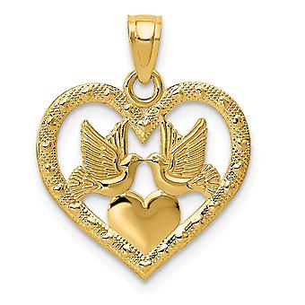 14k Yellow Gold Flat Polished Textured back Two Doves In Heart Pendant - .8 Grams