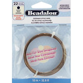 German Style Wire Antique Brass 22 Gauge 32.8 Feet Pkg Bead180 R 022