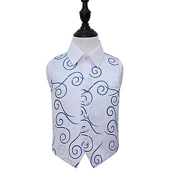 Boy's White & Royal Blue Scroll Wedding Waistcoat