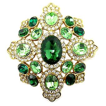 Kenneth Jay Lane store Emerald & Peridot Crystal skjold brosje anheng