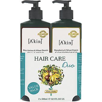 A'kin Rice Aminos Shampoo & Macadamia Wheat Conditioner Duo
