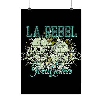 Matte or Glossy Poster with Rebel Great Lakes Skull Rebellion | Wellcoda | *d327