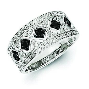 Sterling Silver Black Diamond Mutiple Fancy Diamond Shape Ring - Ring Size: 6 to 8