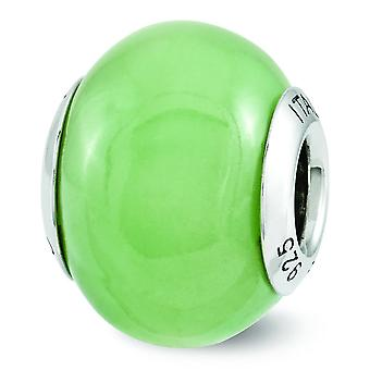 Sterling Silver Reflection groene Glow-in-the-dark Italiaanse kraal Charm