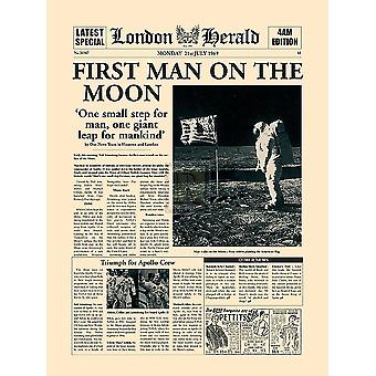First Man On The Moon Poster Print by The Vintage Collection (12 x 16)
