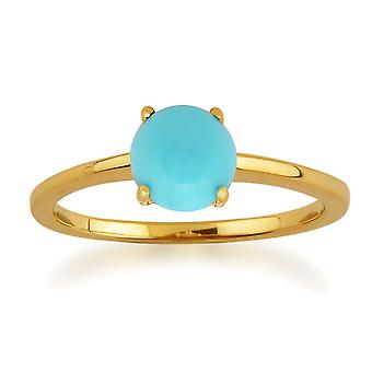 Amour Damier 9ct Yellow Gold 0.9ct 4 Claw Set Turquoise Cabochon Ring by Gemondo