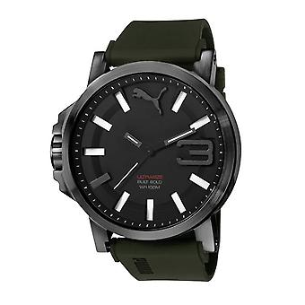 PUMA watch wrist watch mens watch ultra size black army green silicone PU103911002