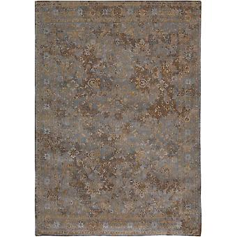 Distressed Grey Beige Medallion Flatweave Rug - Louis de Poortere