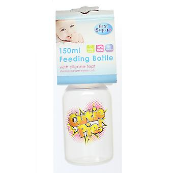 First Steps Comic Pop Art Slogan Baby Feeding Bottle Red Lid 150ml - Cutie Pie!