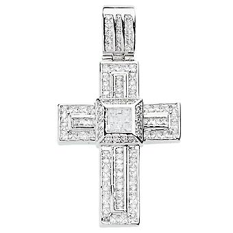 925 iced out sterling silver cross - solid