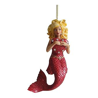 Valentines Day Love Red Heart Mermaid Holiday Ornament December Diamonds