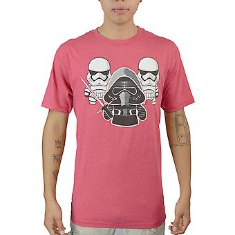 Star Wars Chibi Kylo Ren And Stormtroopers Men's Red T-shirt
